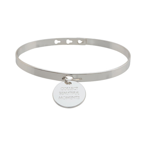 "Silver ""Collect beautiful moments"" Charm Bracelet"