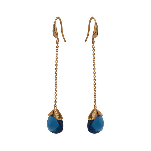 Marylou Gold and Blue Stone Earrings