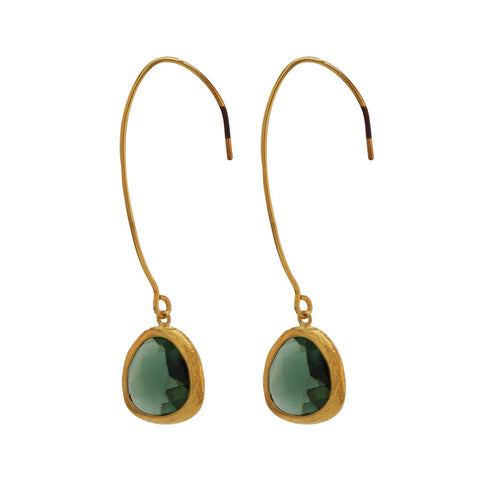 Sinead Gold and Green Stone Earrings