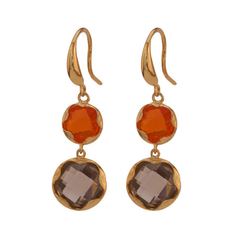 Jean Orange and Grey Stone Earrings