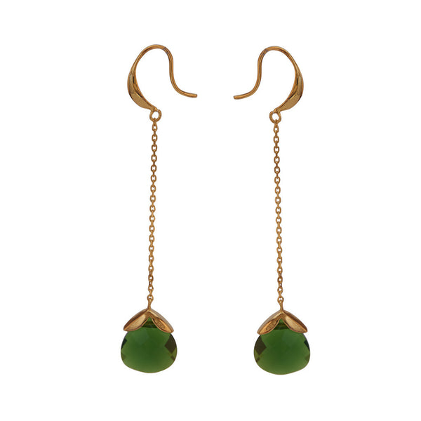 Marylou Gold and Emerald Green Stone Earrings
