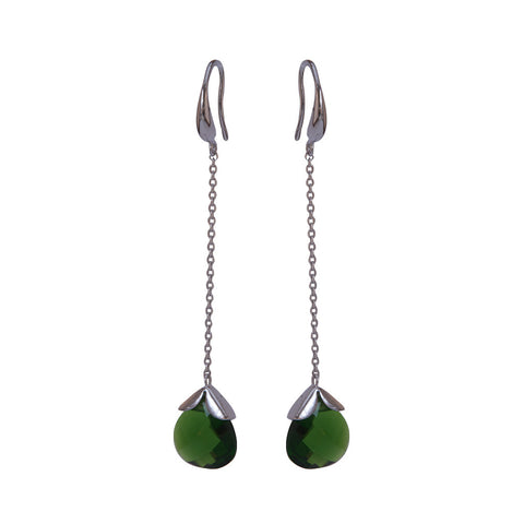 Marylou Silver and Emerald Green Stone Earrings