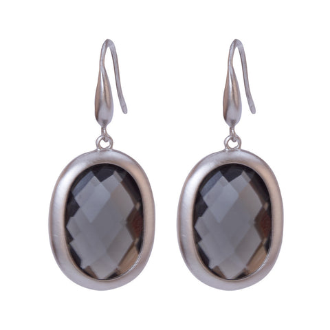 Trisha Silver and Grey Stone Earrings