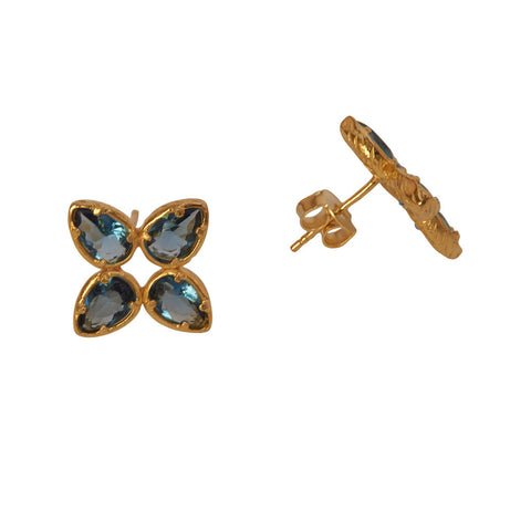 Ava Blue and Gold Earrings at LVBT