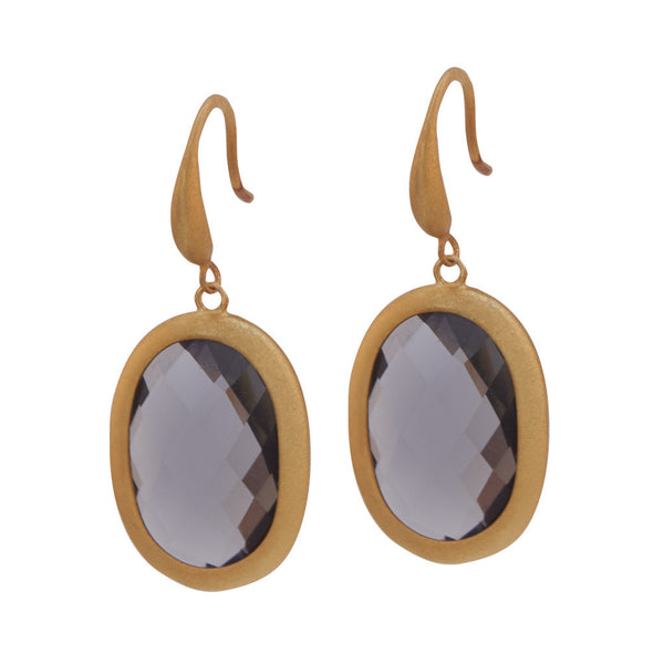 Trisha Gold and Grey Stone Earrings