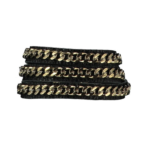 Mel Black Leather Bracelet