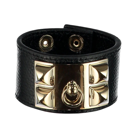 Frida Black Leather Cuff