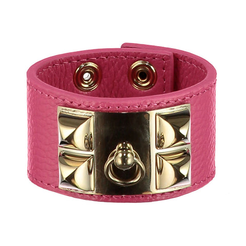 Frida Fuchsia Pink Leather Cuff