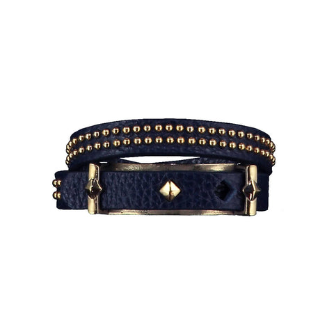 Ashlea Navy Leather Bracelet at LVBT