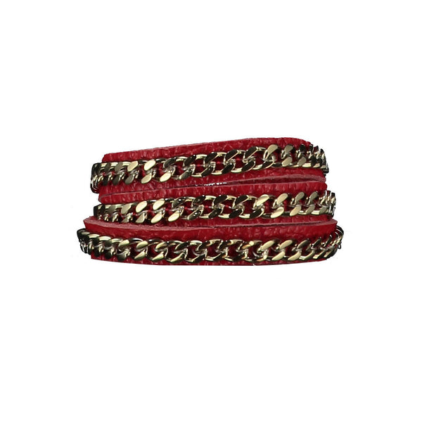 Mel Red Leather Bracelet