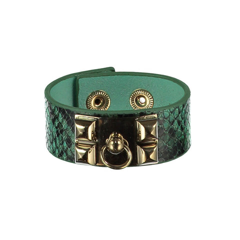 Nicola Green Leather Cuff