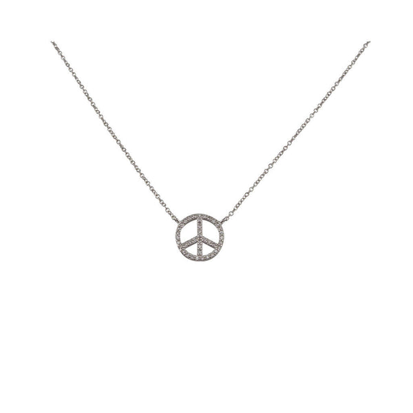 Silver Crystal Peace Necklace