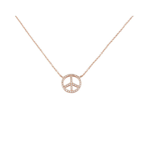Rose Gold Crystal Peace Necklace