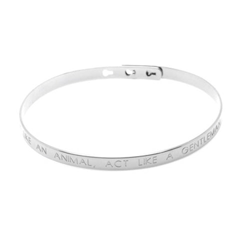 Male Brushed Silver Think Like An Animal, Act Like a Gentleman Bracelet