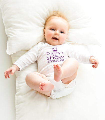'Daddy's little showstopper' long-sleeved baby vest