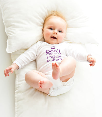 'Don't mention my soggy bottom' long-sleeved baby vest