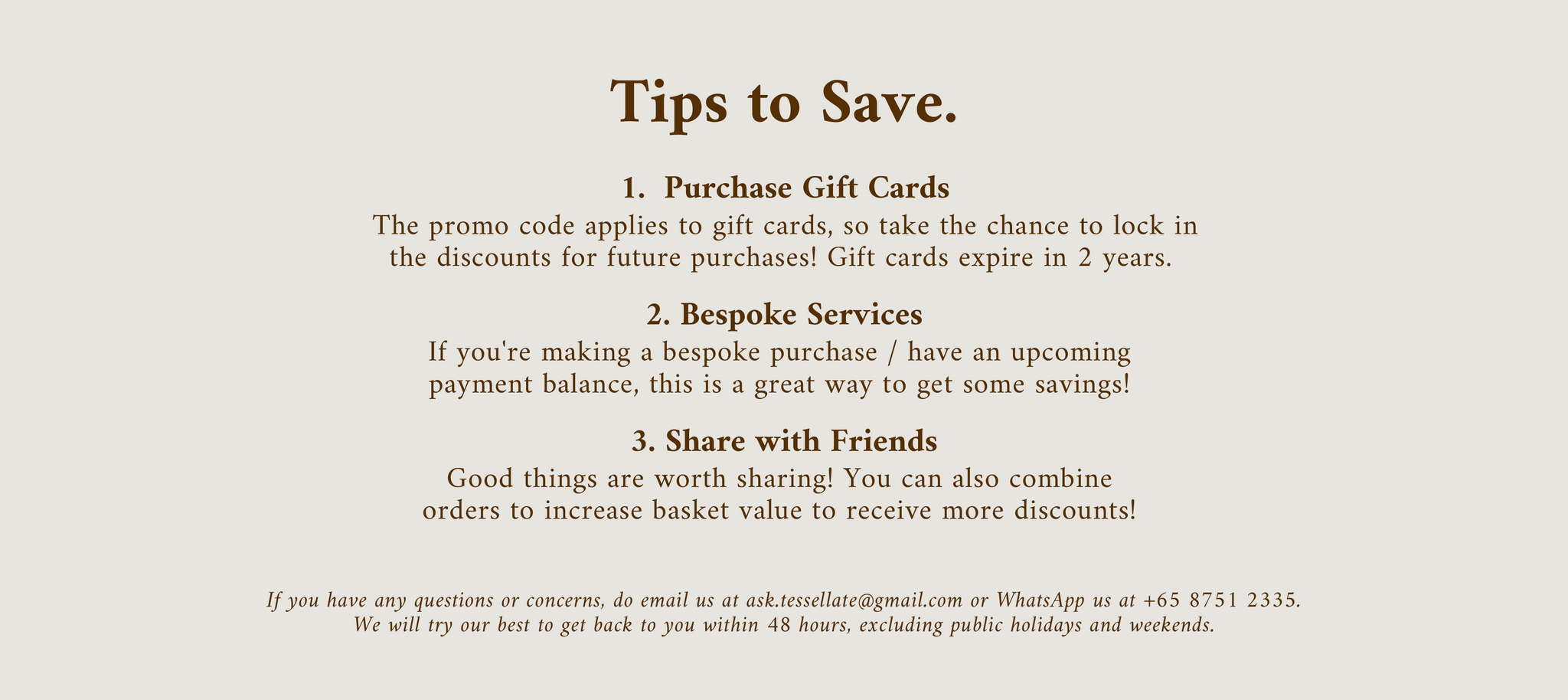 Tips to save.
