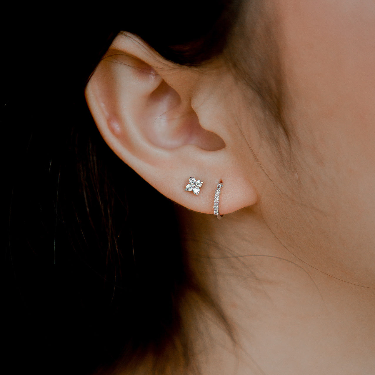 Diamond Series - Earrings - Wilma (0.08C, 18K WG) - Tessellate.Co