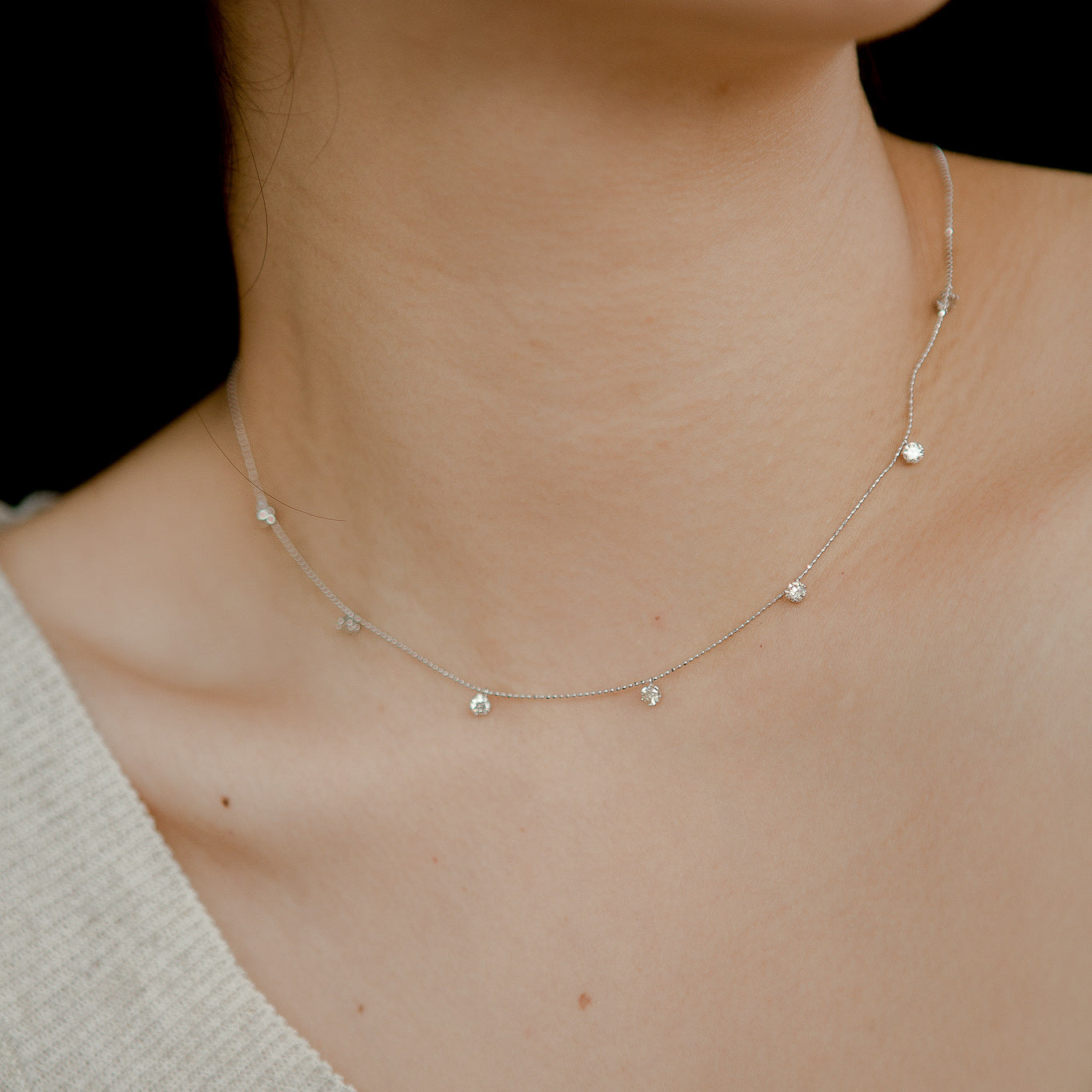Diamond Series - Necklace - Multi (1 Carats, 18K White Gold) - Tessellate.Co