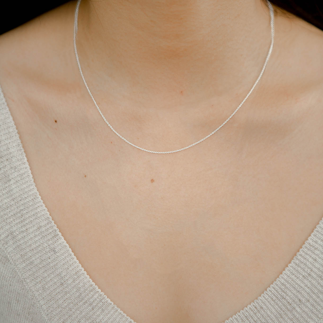 925 Silver Chain Series Necklace - Thin Chain (Rhodium Plated)