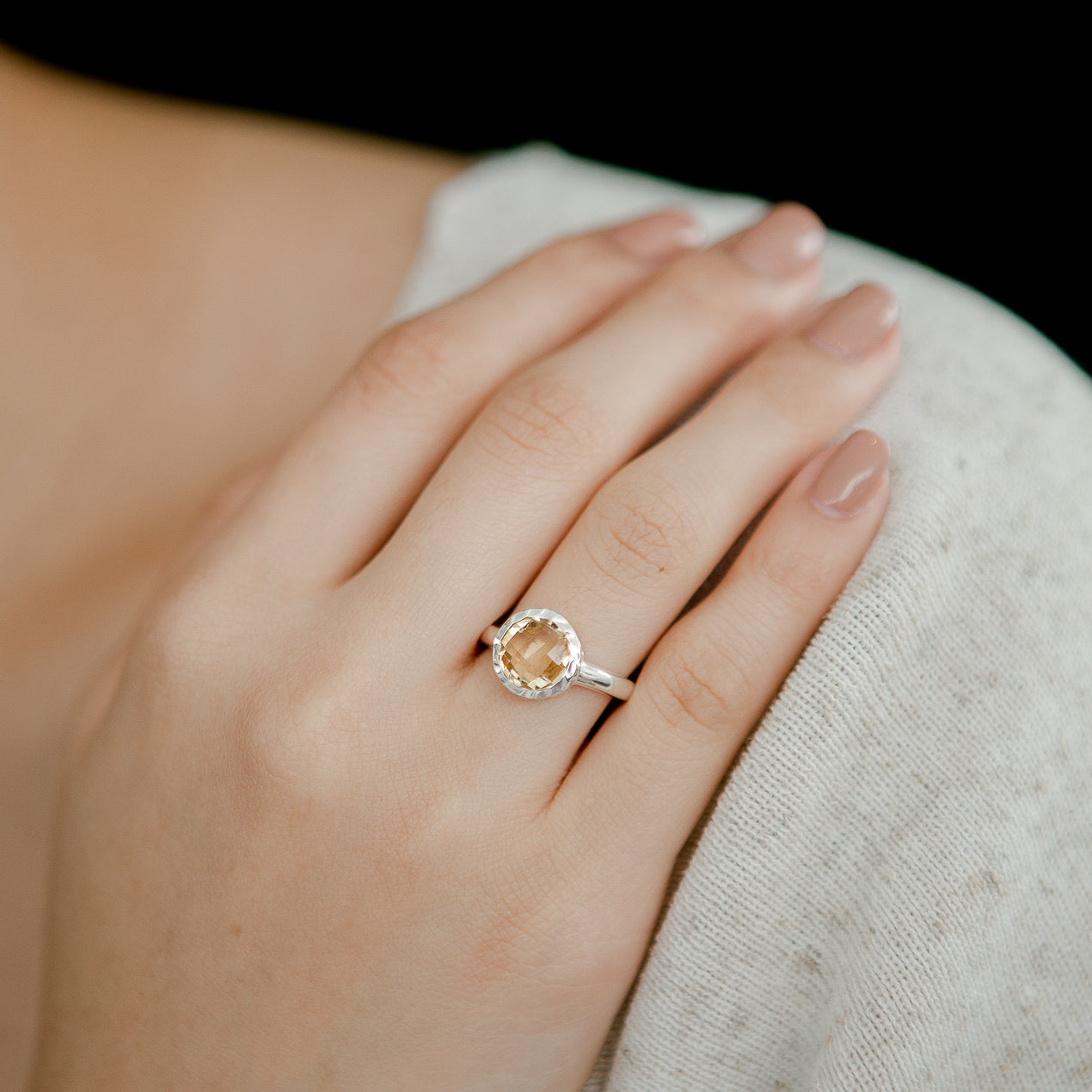 925 Silver Luxe Series Ring - Celine (Citrine) - Tessellate.Co