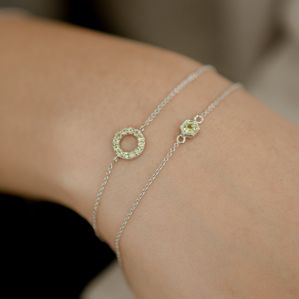 925 Silver Classic Series Bracelet - Fiona (Peridot) - Tessellate.Co