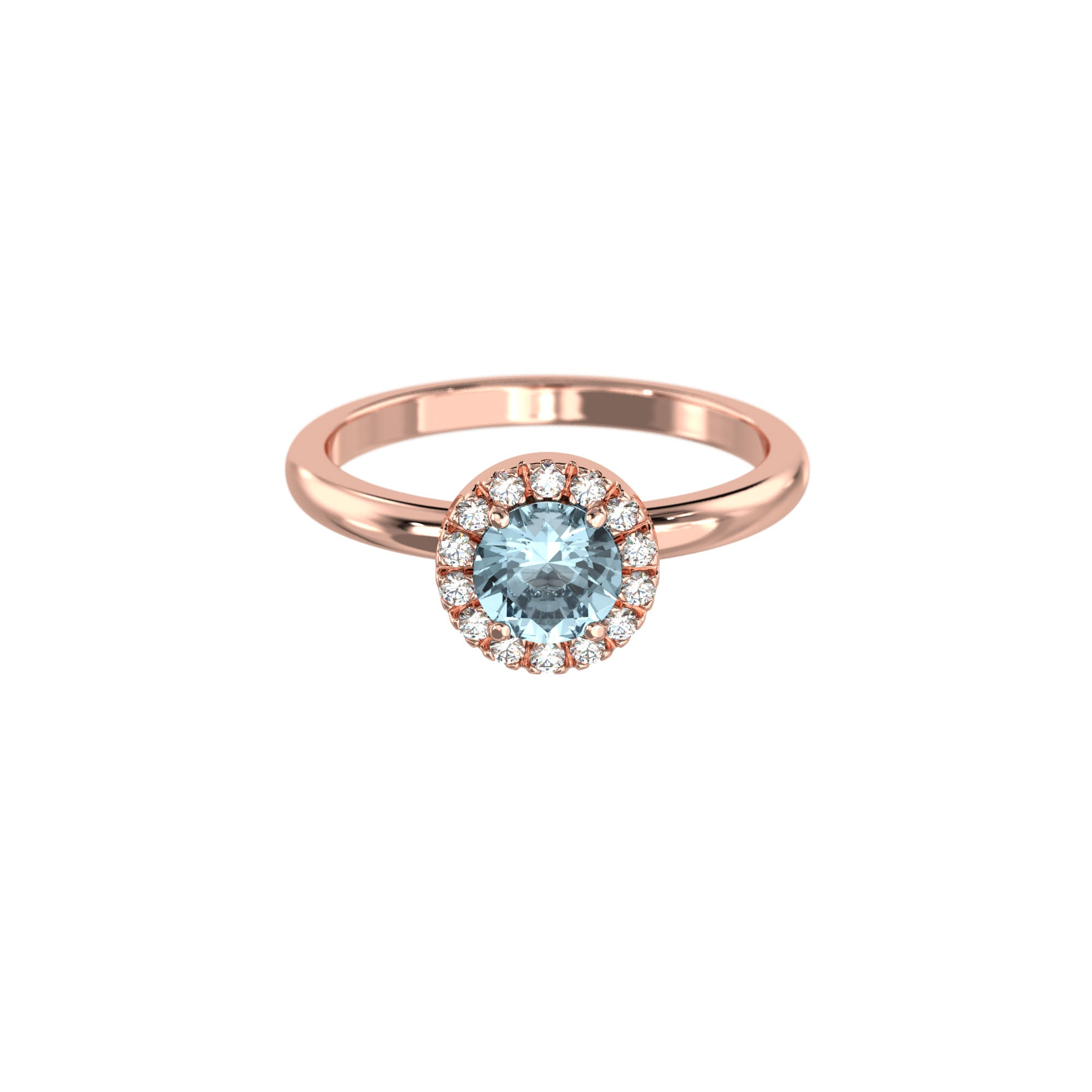 925 Silver Luxe Series Ring - Lydia (Aquamarine) - Rose Gold Plated