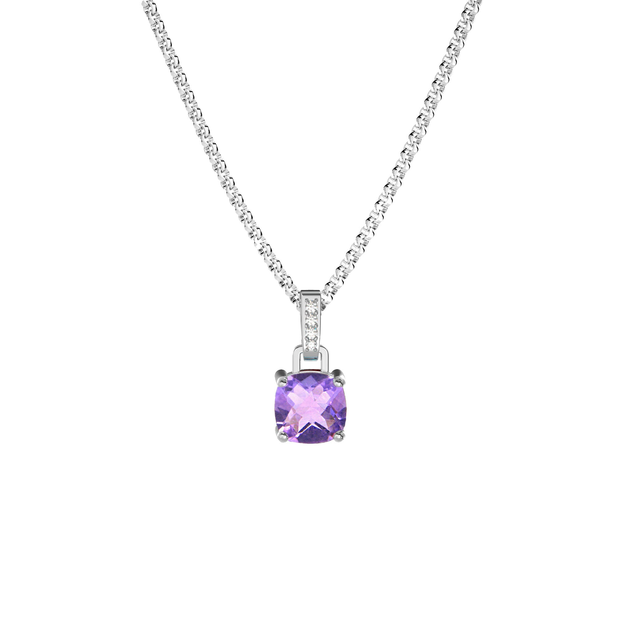925 Silver Classic Series Necklace - Felicia (Amethyst)