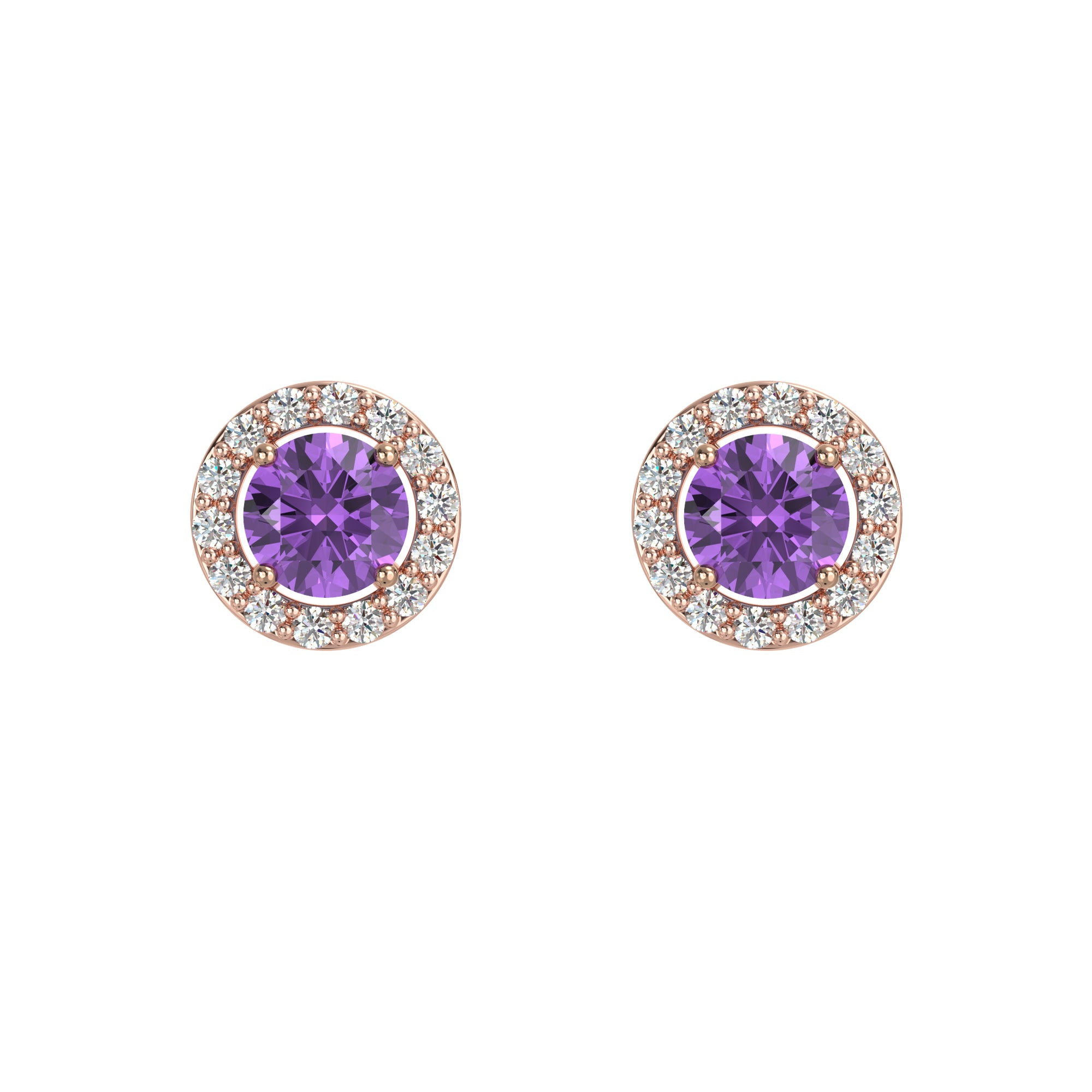 925 Silver Luxe Series Earring - Lydia (Amethyst) - Rose Gold Plated
