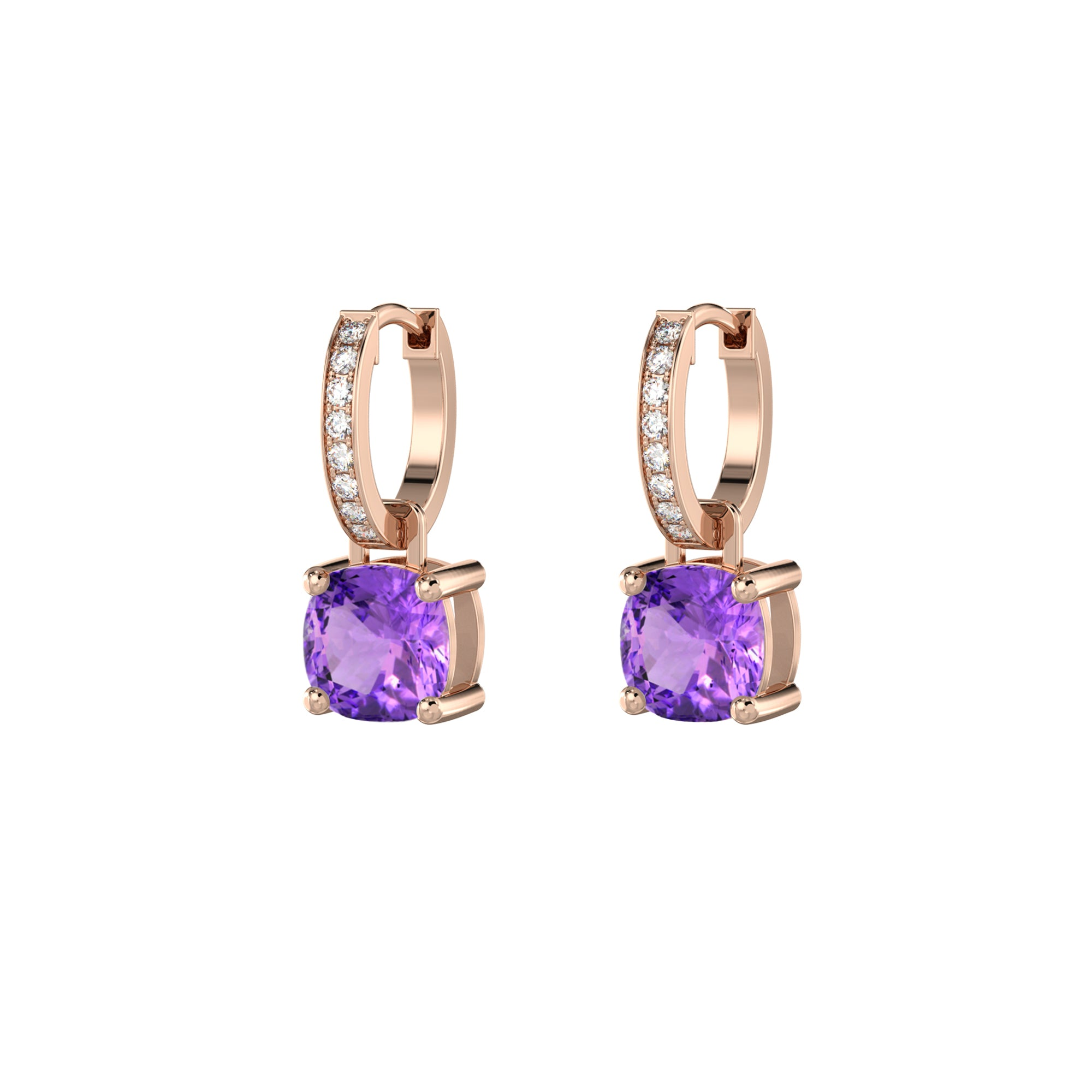 925 Silver Luxe Series Earrings Charms - Wylie (Amethyst) - Rose Gold Plated