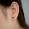 925 Silver Classic Series Earring - Lynn (Amethyst) - Rose Gold Plated