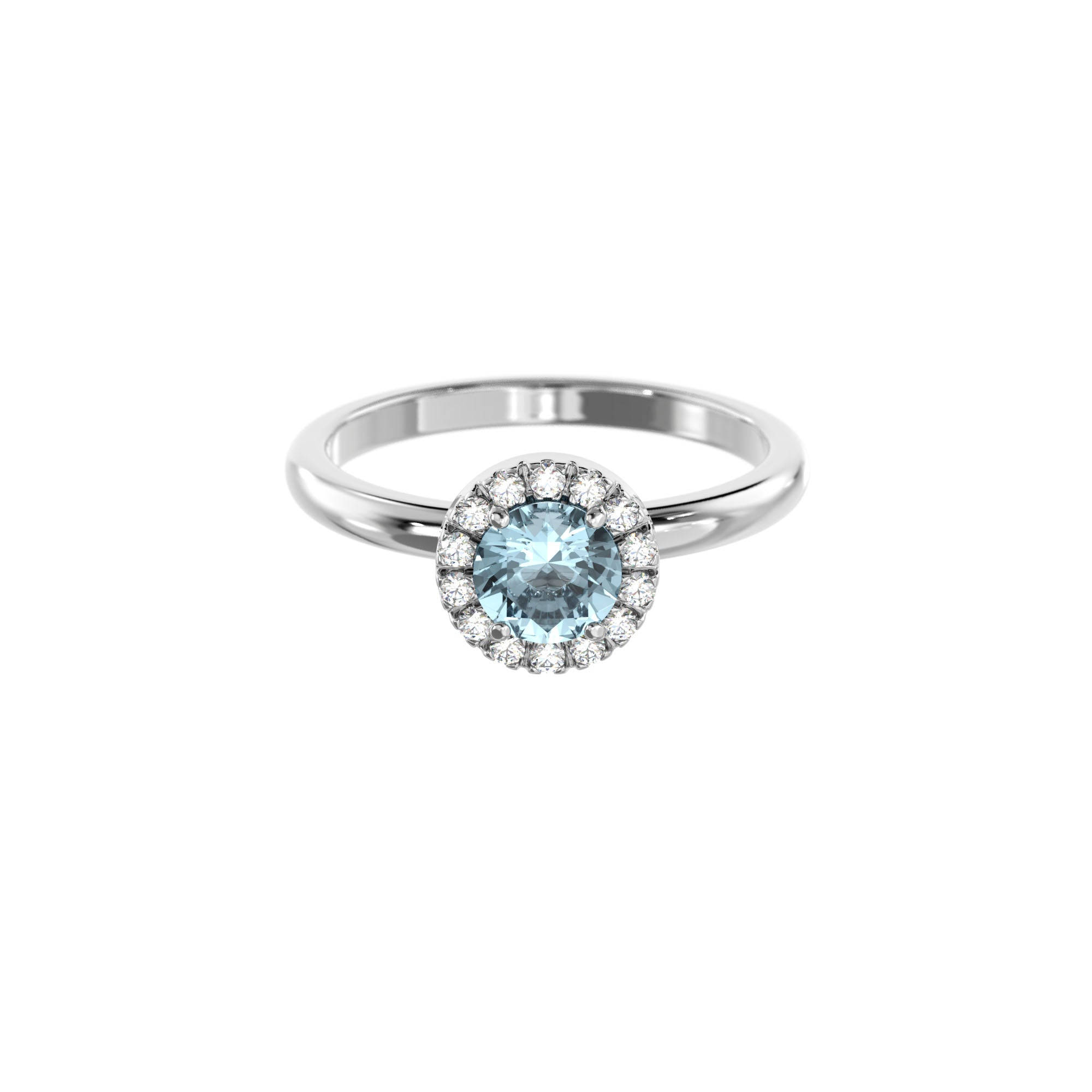 925 Silver Luxe Series Ring - Lydia (Aquamarine)