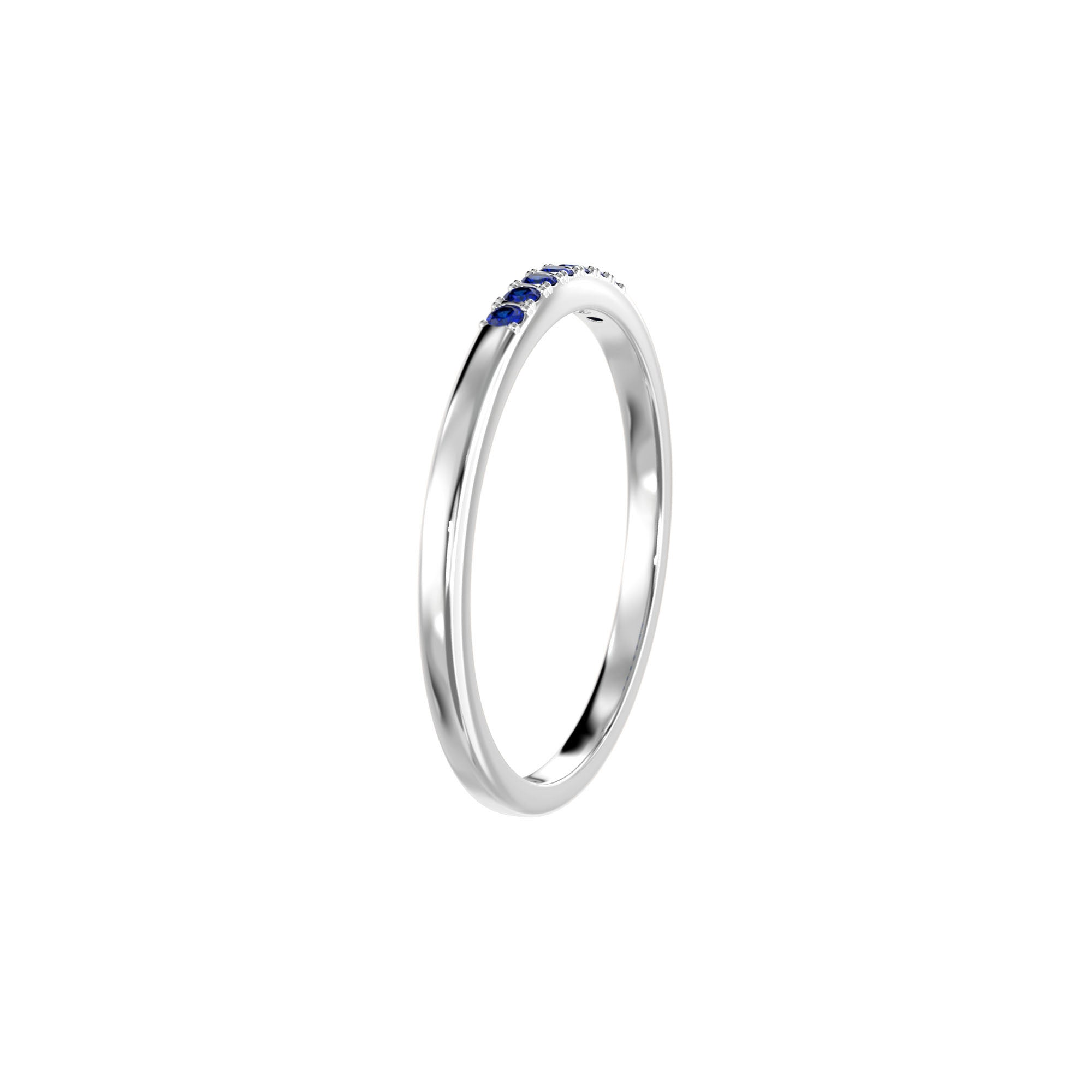925 Silver Classic Series Ring - Esther (Sapphire) - Rhodium Plated