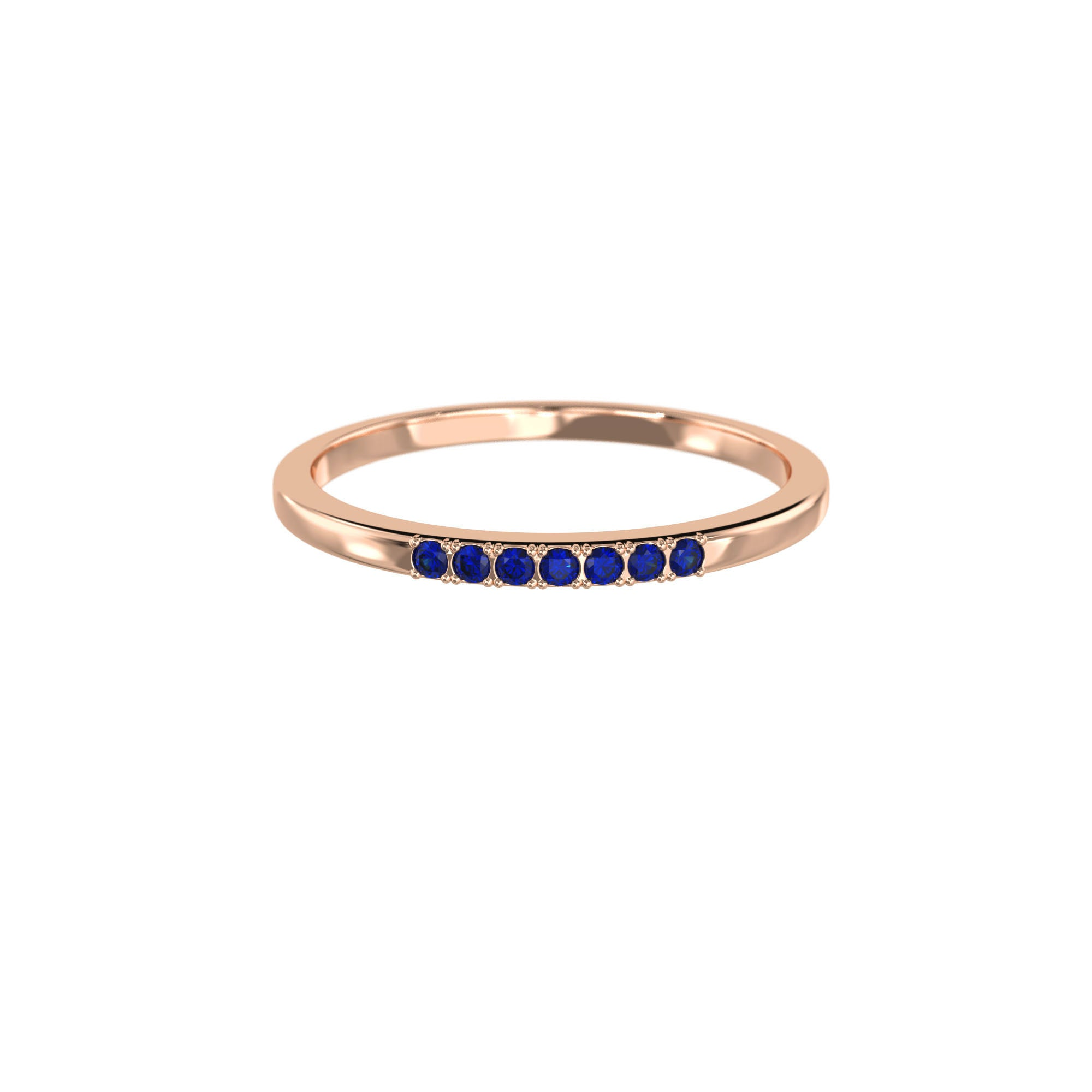 925 Silver Classic Series Ring - Esther (Sapphire) - Rose Gold Plated