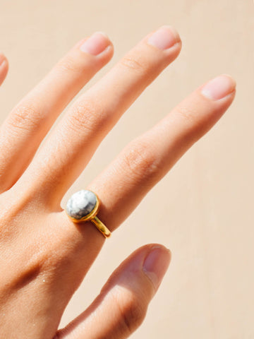 Brass - Howlite Ring (Oval) - Tessellate.Co - 1