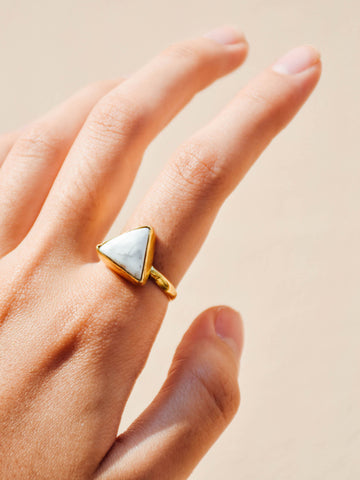 Brass - Howlite Ring (Triangle) - Tessellate.Co - 1