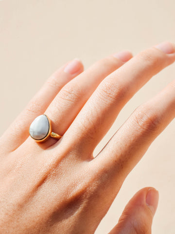 Brass - Howlite Ring (Teardrop) - Tessellate.Co - 1