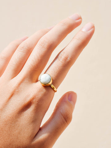 Brass - Howlite Ring (Round) - Tessellate.Co - 1