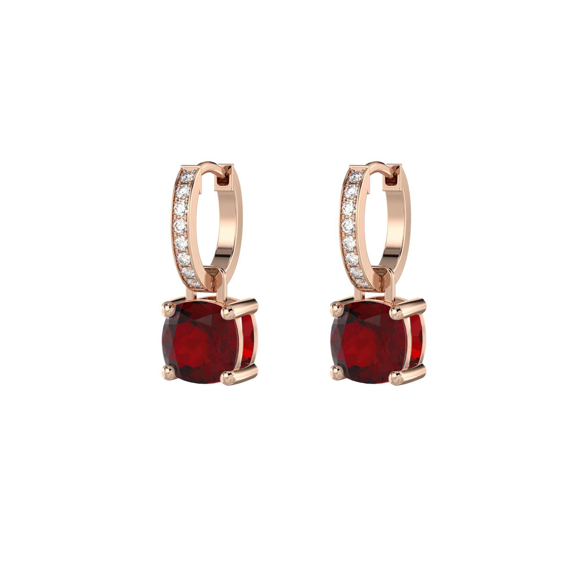 925 Silver Luxe Series Earrings Charms - Wylie (Garnet) - Rose Gold Plated