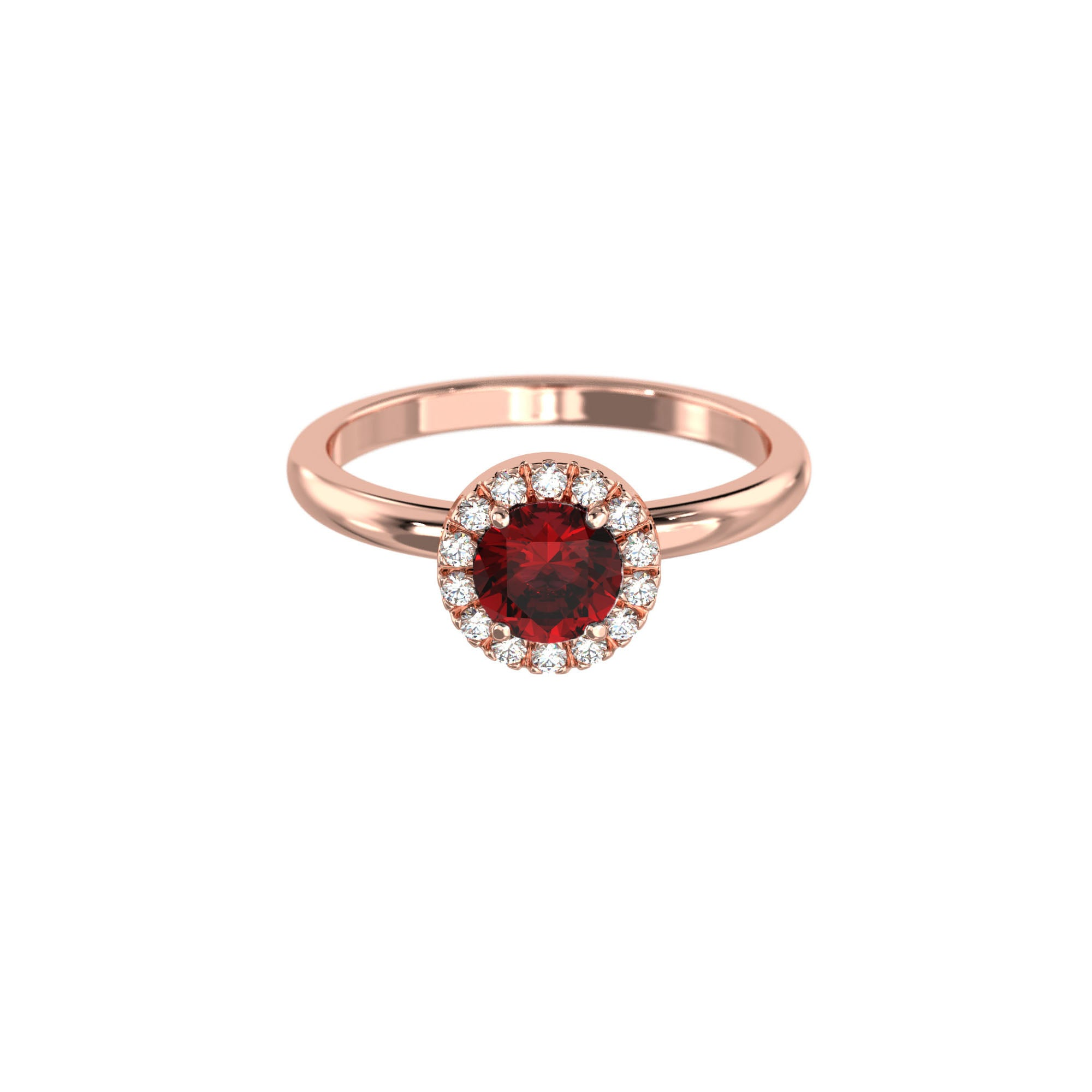 925 Silver Luxe Series Ring - Lydia (Garnet) - Rose Gold Plated