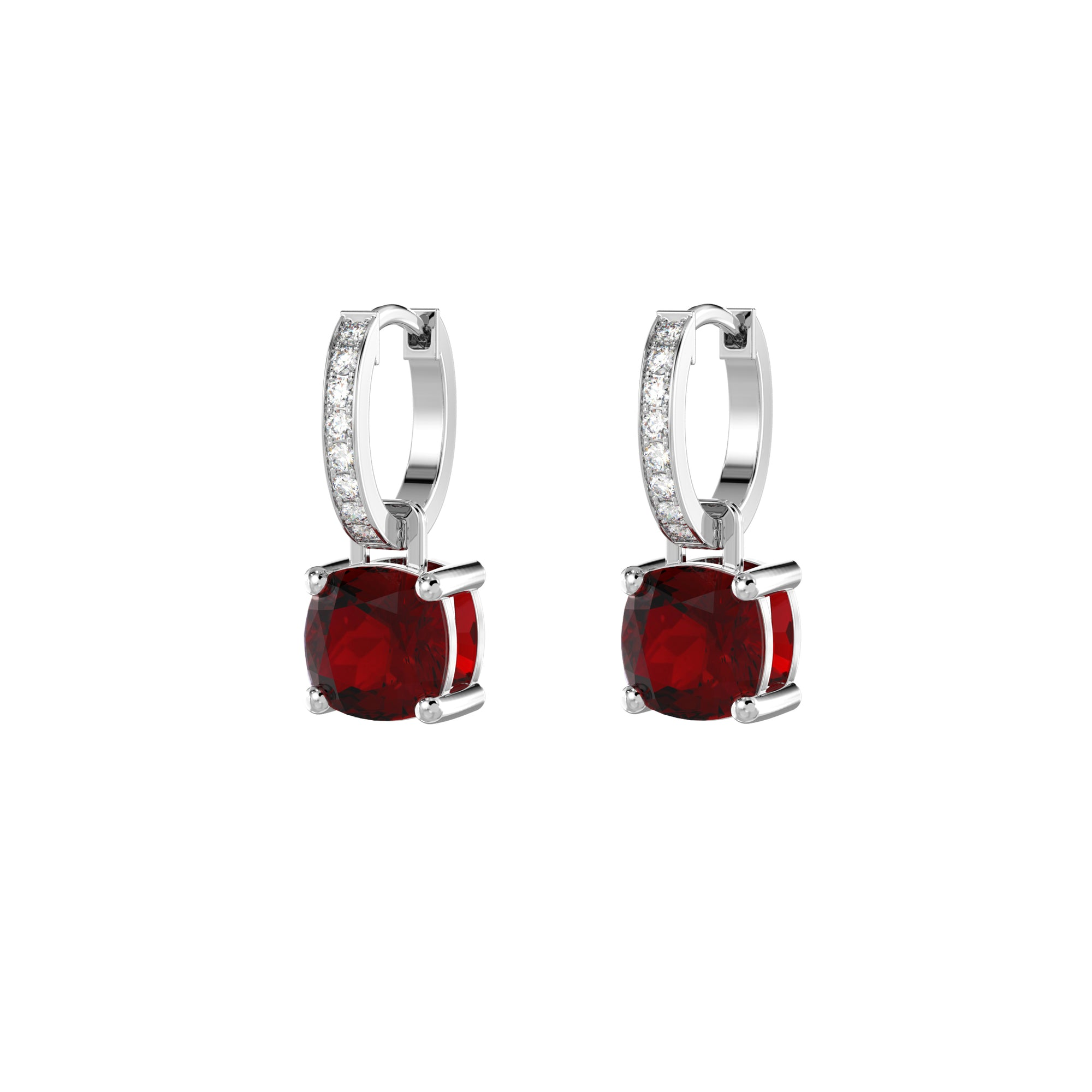 925 Silver Luxe Series Earrings Charms - Wylie (Garnet)