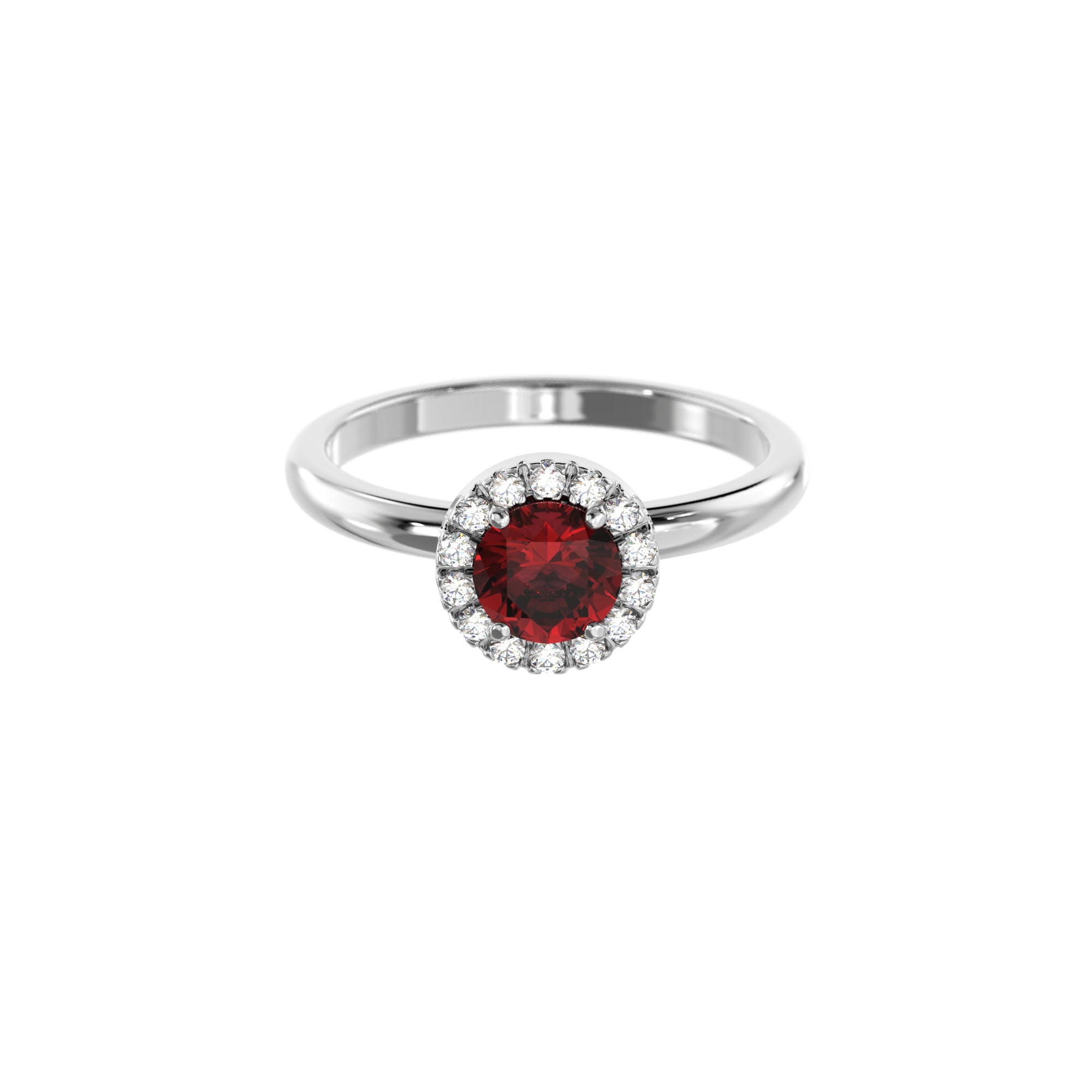 925 Silver Luxe Series Ring - Lydia (Garnet)