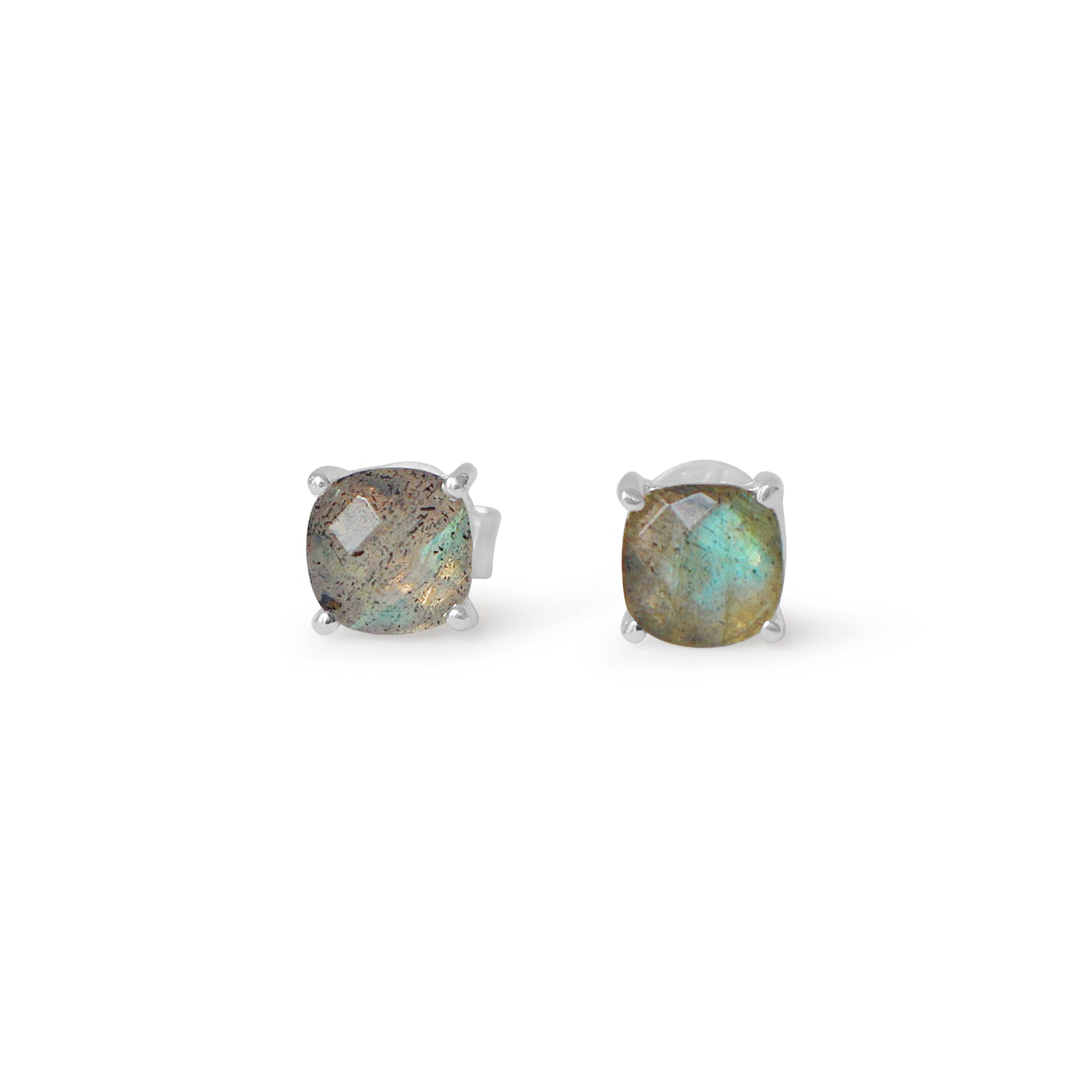 925 Silver Classic Series Earrings - Pamela Studs (Labradorite) - Rose Gold Plated