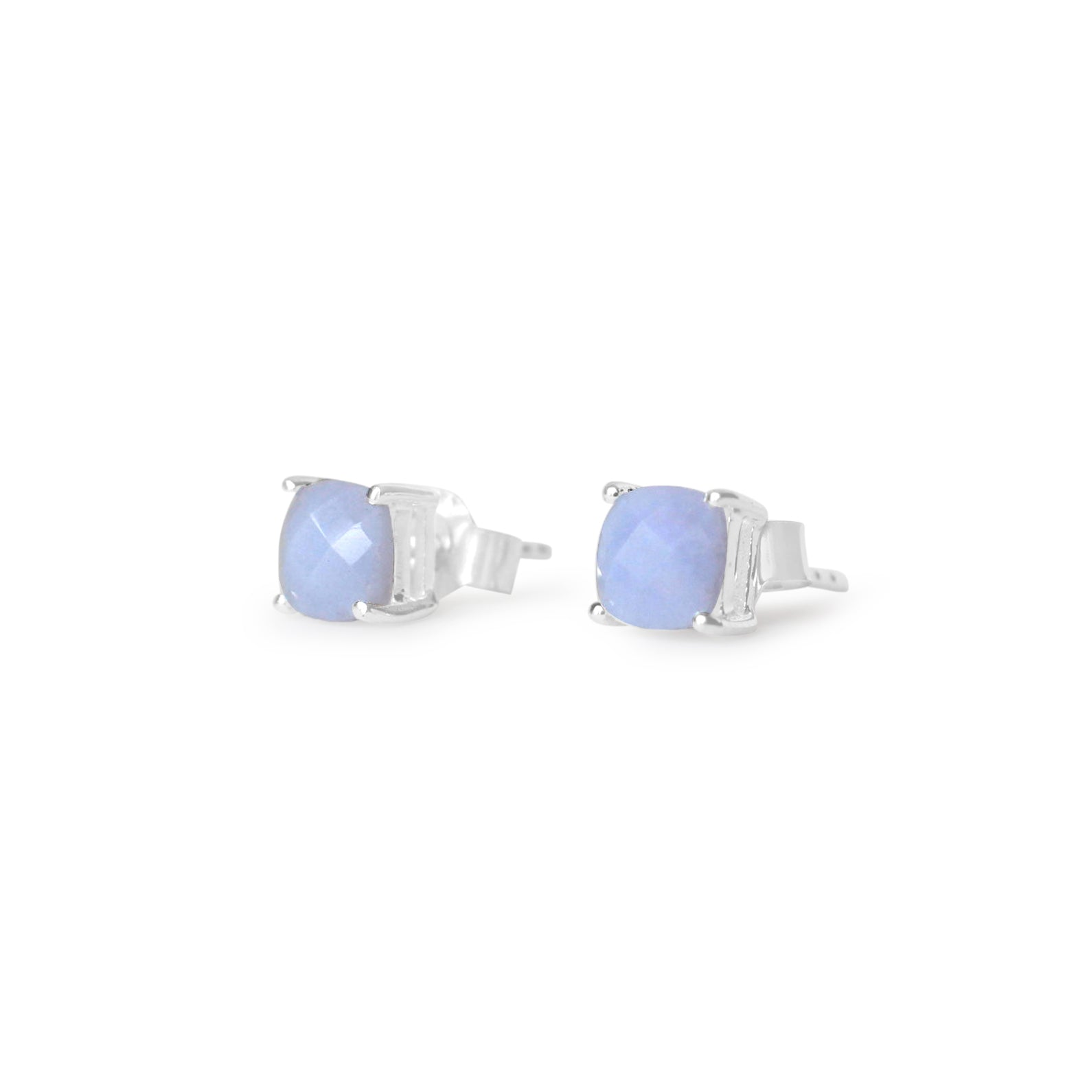 925 Silver Classic Series Earrings - Pamela Studs (Blue Lace Agate)