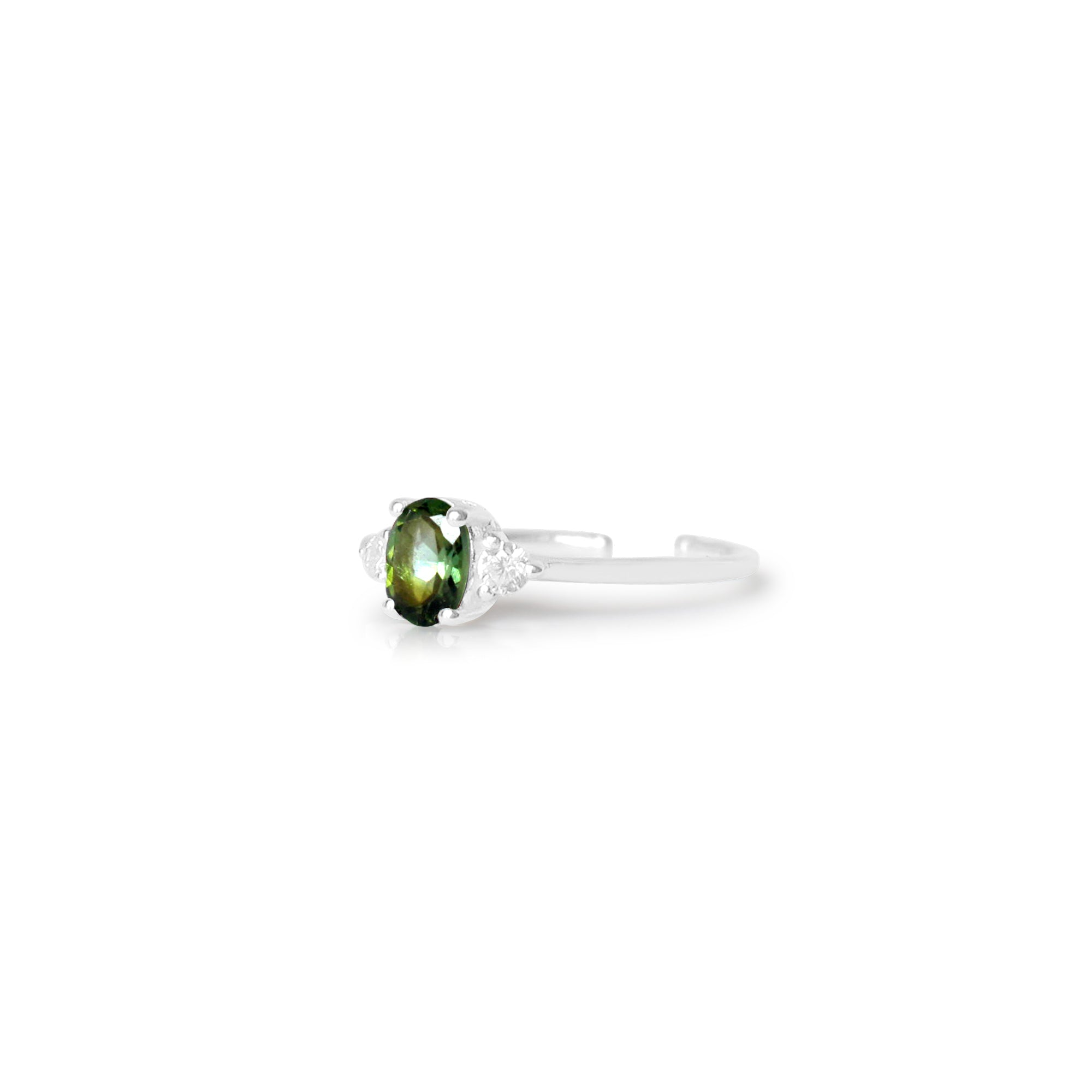 925 Silver Luxe Series Ring - Yura (Green Tourmaline) - Tessellate.Co