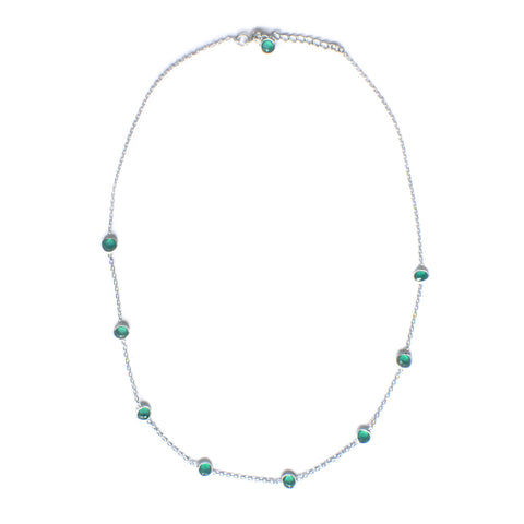 925 Luxe Series - Dainty 9 Stone Necklace (Green Onyx)
