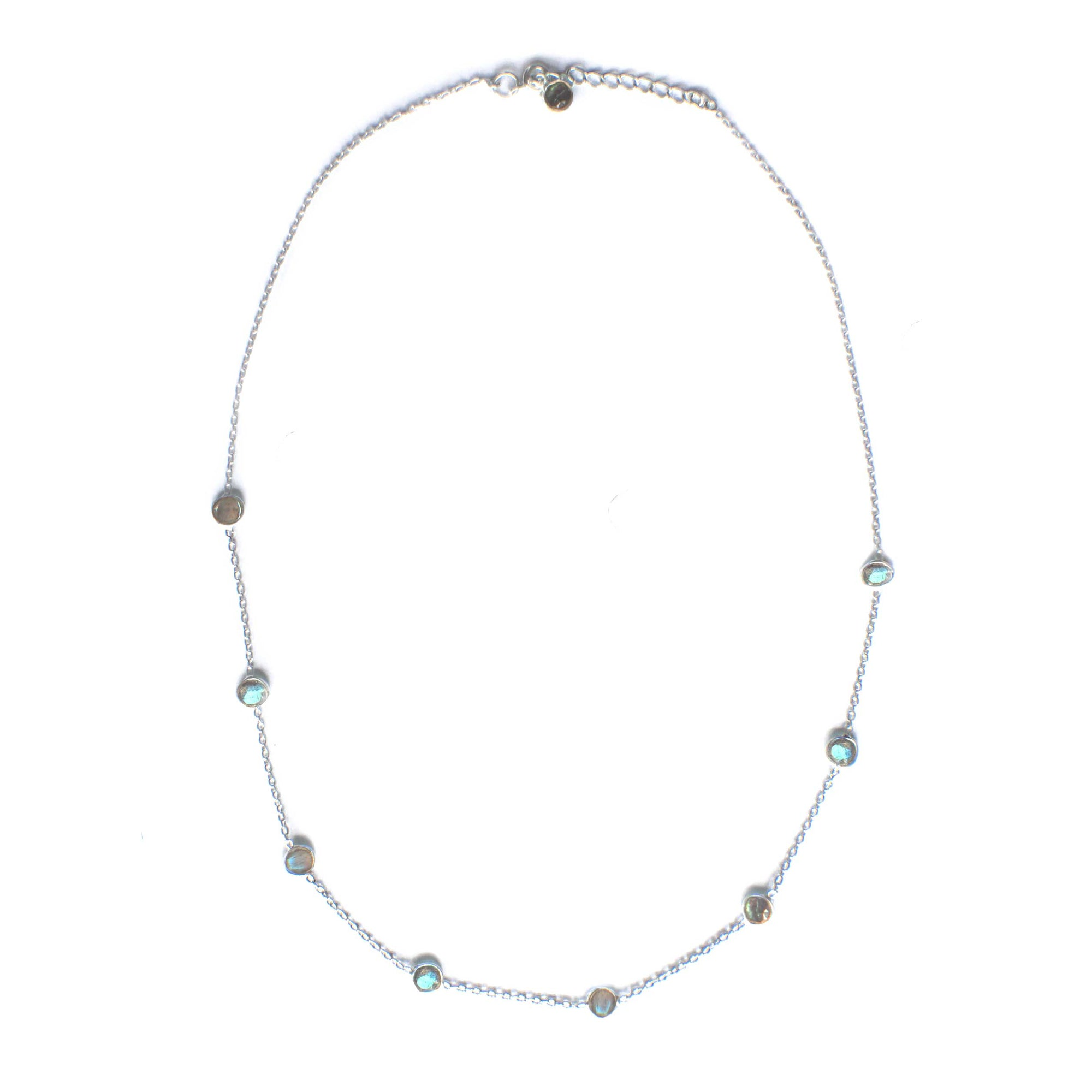 925 Silver Luxe Series Necklace - Ailee - Long (Labradorite) - Tessellate.Co