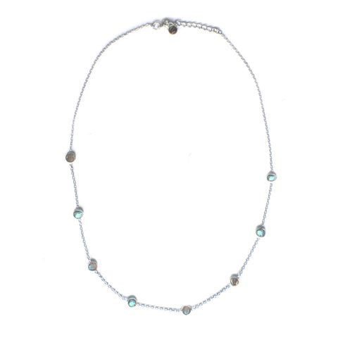 925 Luxe Series - Dainty 9 Stone Necklace (Labradorite)