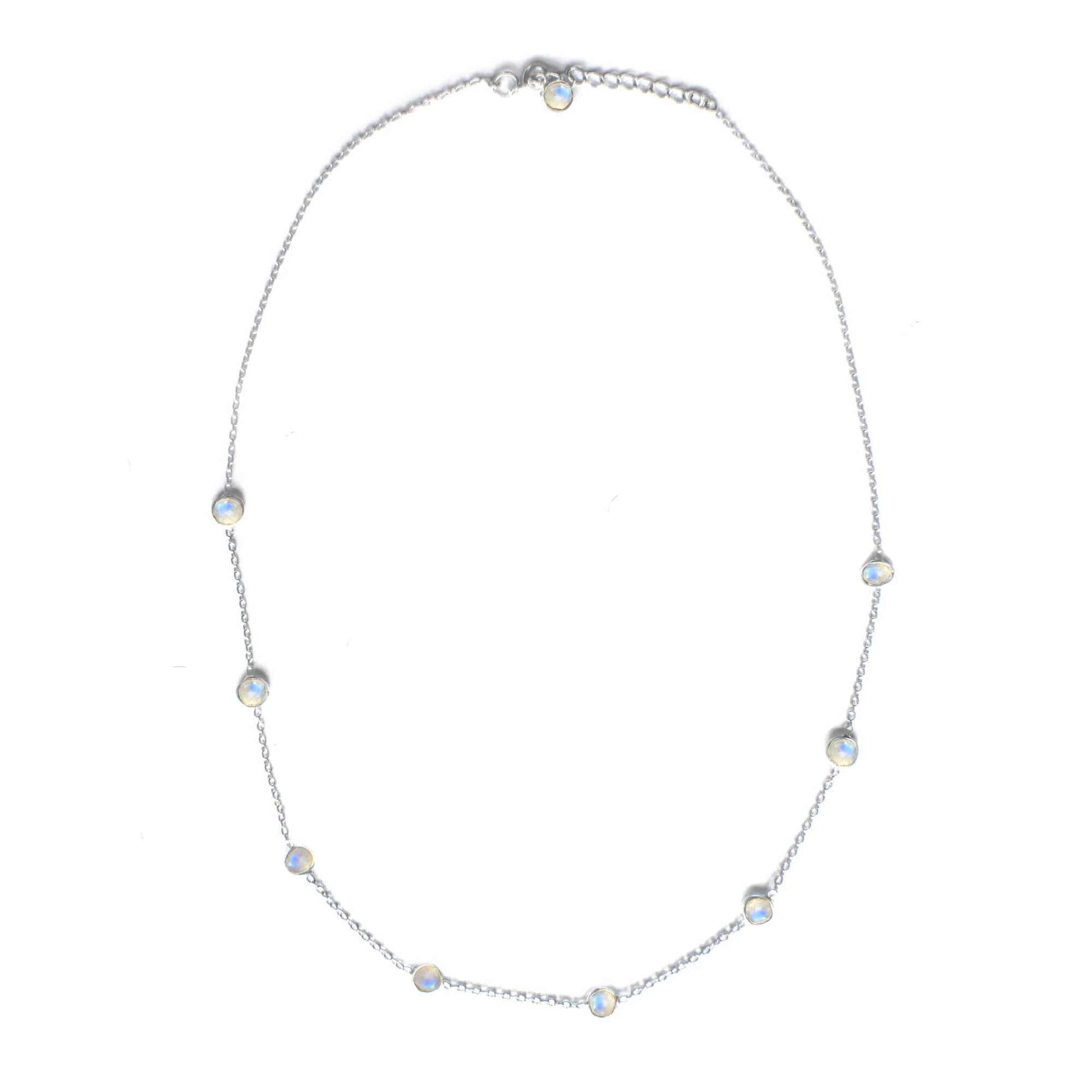 925 Silver Luxe Series Necklace - Dainty 9 Stones (Moonstone)