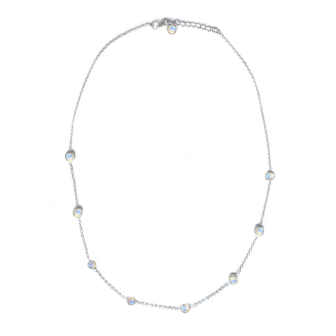 925 Luxe Series - Dainty 9 Stone Necklace (Moonstone)